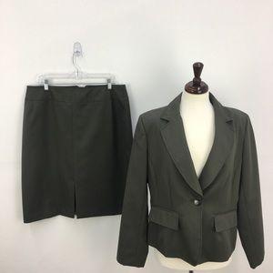 Harve Benard Olive Wool Two Piece Skirt Suit Set
